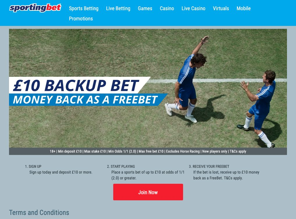 Sporting Bet Signup Page