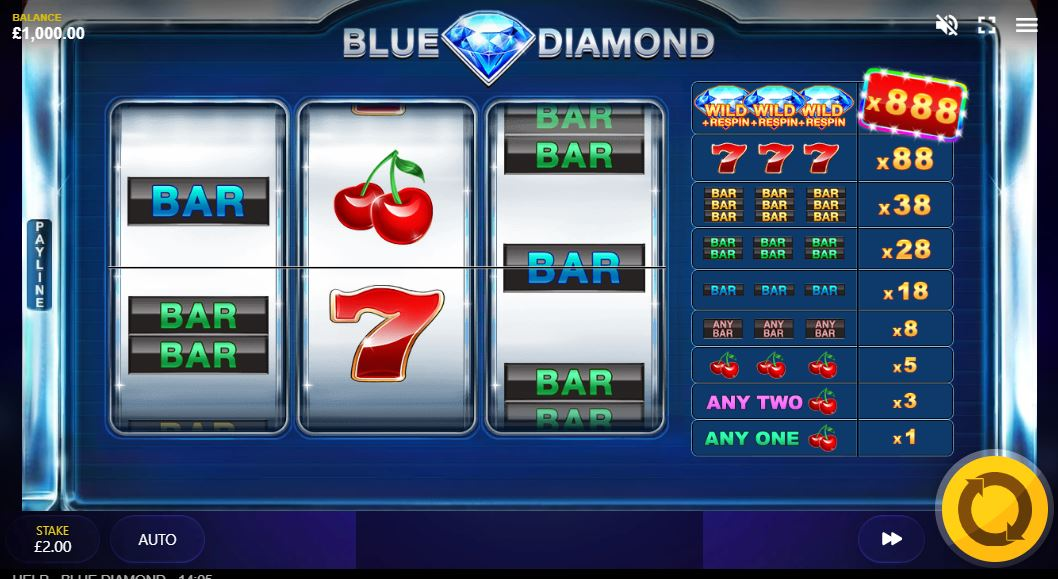 Blue Diamond Slot Gameplay